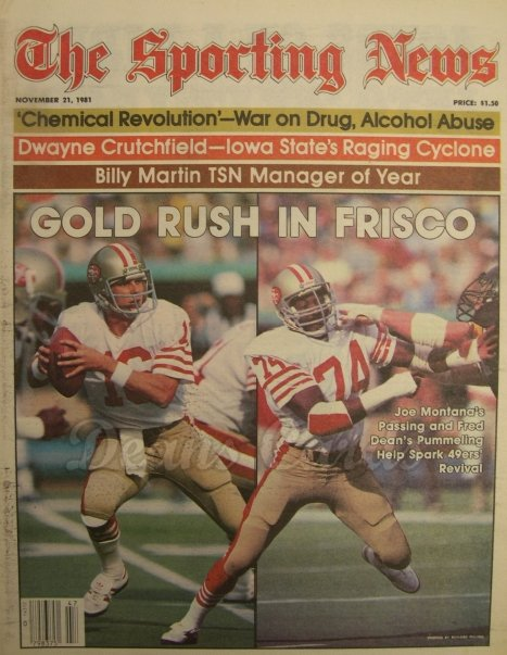 11/21/1981 - Fred Jones/Joe Montana, Billy Martin , Sporting New