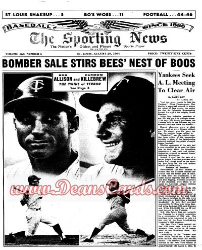 1964 The Sporting News   August 29  - Harmon Killebrew / Bob Allison / Black Sox / Happy Felsch dies