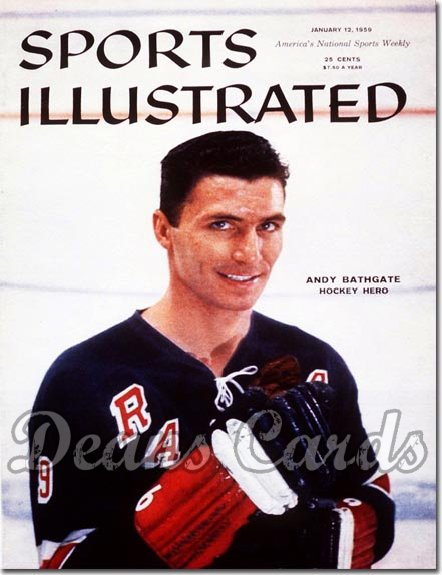 1959 Sports Illustrated - With Label   January 12  -  Andy Bathgate (New York Rangers)