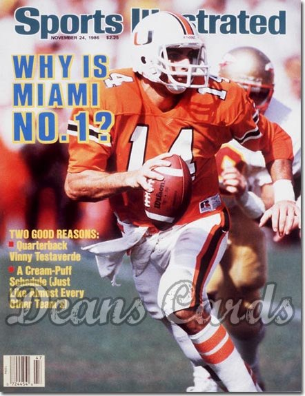 1986 Sports Illustrated - With Label   November 24  -  Vinny Testaverde (Miami Hurricanes)