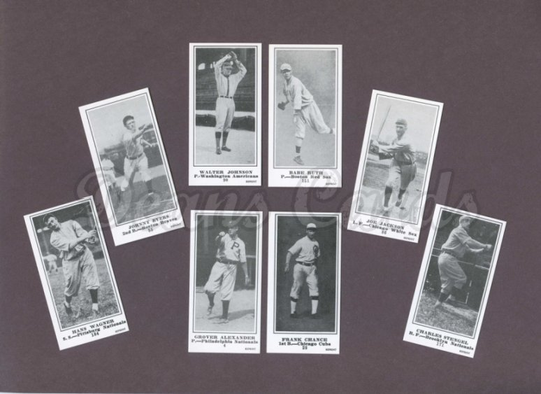 1916 M101-5 Reprint    M101-5 Blank Back Baseball Reprint Complete Set