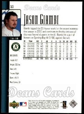 2001 Upper Deck #53  Jason Giambi