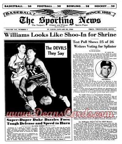 1966 The Sporting News   January 22  - Ted Williams / Roger Mans