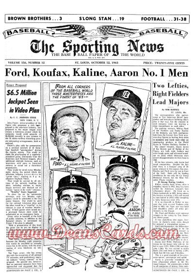 1963 The Sporting News   October 12  - Whitey Ford / Sandy Koufax / Al Kaline / Hank Aaron