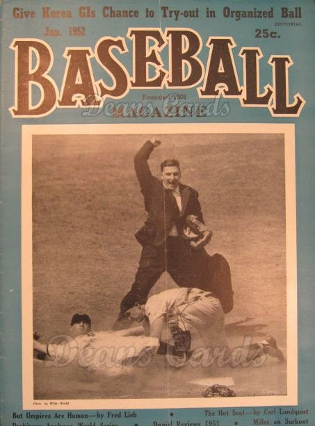 1952 Baseball Magazine    January
