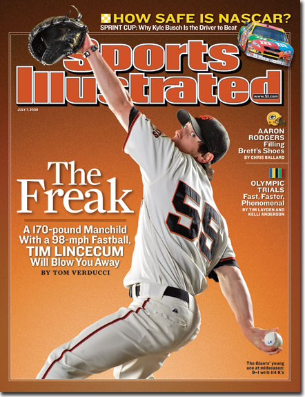 2008 Sports Illustrated - With Label   July 7  -  Pitcher Tim Lincecum