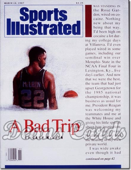 1987 Sports Illustrated - With Label   March 16  -  Gary Mc Lain (Villanova Wildcats) (Cocaine)