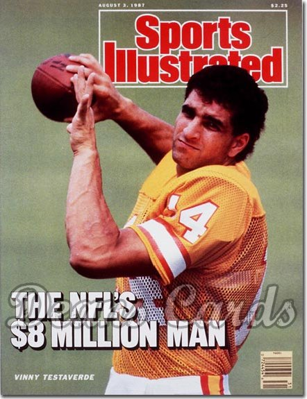 1987 Sports Illustrated - With Label   August 3  -  Vinny Testaverde (Tampa Bay Buccaneers)