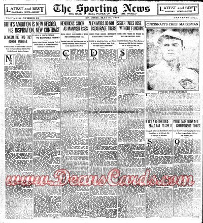 1926 The Sporting News   May 27  - Pete Donohue. Babe Ruth