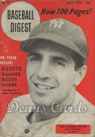 1950 Baseball Digest   -  Phil Rizzuto  July