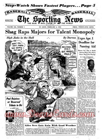 1953 The Sporting News   February 4  - Dizzy Dean