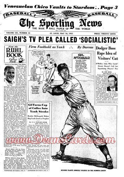 1951 The Sporting News   May 16  - Gil McDougall / Joe DiMaggio ad