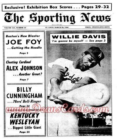 1966 The Sporting News   March 26  - Willie Davis / Leo Durocher