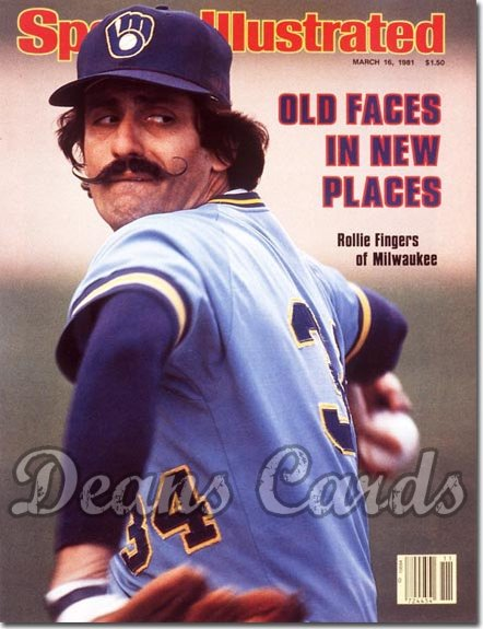 1981 Sports Illustrated - With Label   March 16  -  Rollie Fingers (Milwaukee Brewers)
