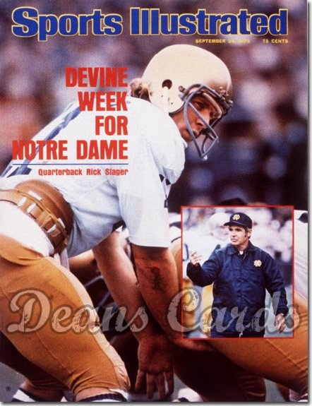 1975 Sports Illustrated - With Label   September 29  -  Dan Devine/Rick Slager (Notre Dame Fighting Irish)