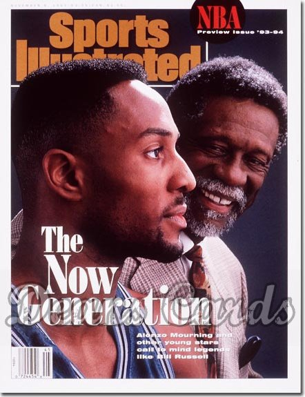 1993 Sports Illustrated - With Label   November 8  -  Alonzo Mourning (Hornets) Bill Russell (Celtics)