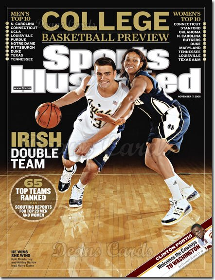 2008 Sports Illustrated - With Label   November 17  -  Kyle McAlarney & Ashley Barlow (Notre Dame Basketball)