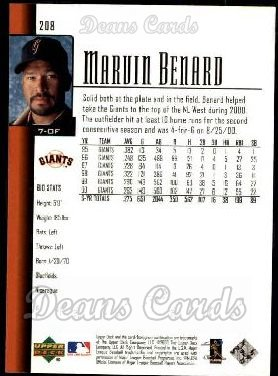 2001 Upper Deck #208  Marvin Benard