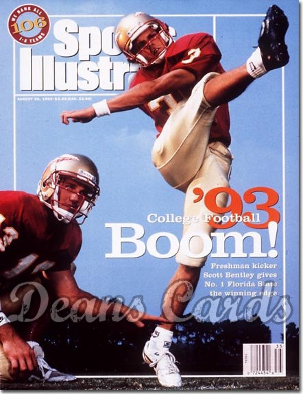 1993 Sports Illustrated - With Label   August 30  -  Scott Bentley (Fla State Seminoles) College Football Issue