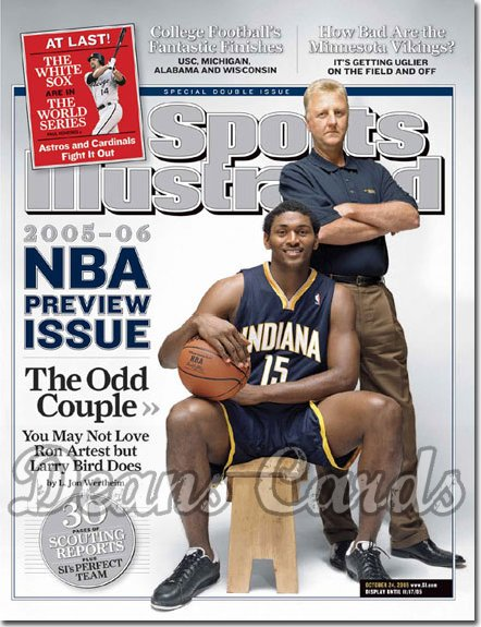 2005 Sports Illustrated - With Label   October 24  -  Ron Artest Larry Bird Indiana Pacers NBA Preview