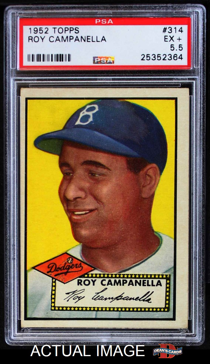 topps baseball complete set ex l 1952 topps 314 roy campanella 5 5 ex front