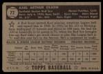 1952 Topps #72 BLK Karl Olson  Back Thumbnail