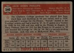 1952 Topps #240  Jack Phillips  Back Thumbnail