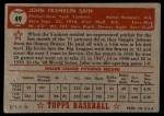 1952 Topps #49 ^RED ^  Johnny Sain  Back Thumbnail