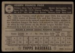1952 Topps #48 ^COR^ Joe Page  Back Thumbnail