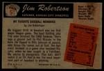 1955 Bowman #5  Jim Robertson  Back Thumbnail