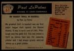 1955 Bowman #61  Paul LaPalme  Back Thumbnail