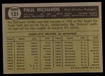 1961 Topps #131  Paul Richards  Back Thumbnail