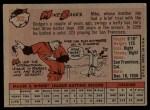 1958 Topps #302  Mike Baxes  Back Thumbnail
