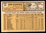 1963 Topps #395  Don McMahon  Back Thumbnail