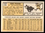 1963 Topps #545  Jose Pagan  Back Thumbnail