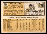 1963 Topps #551  Billy Klaus  Back Thumbnail