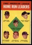 1963 Topps #4   -  Harmon Killebrew / Roger Maris / Norm Cash / Rocky Colavito / Jim Gentile / Leon Wagner AL HR Leaders Front Thumbnail