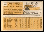 1963 Topps #122  Julio Gotay  Back Thumbnail