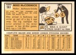 1963 Topps #563  Mike McCormick  Back Thumbnail