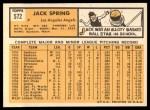 1963 Topps #572  Jack Spring  Back Thumbnail