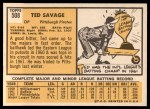 1963 Topps #508  Ted Savage  Back Thumbnail