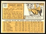 1963 Topps #424  Charley Smith  Back Thumbnail