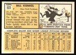 1963 Topps #523  Bill Kunkel  Back Thumbnail