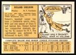 1963 Topps #507  Roland Sheldon  Back Thumbnail