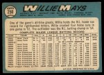 1965 Topps #250  Willie Mays  Back Thumbnail