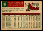 1959 Topps #87  Danny O'Connell  Back Thumbnail