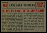 1959 Topps #462   -  Rocky Colavito Great Catch Saves Game Back Thumbnail