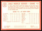 1964 Topps #137   1963 World Series - Game #2 - Davis Sparks Rally - Willie Davis Back Thumbnail