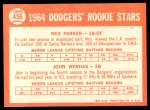 1964 Topps #456   -  Wes Parker / John Werhas Dodgers Rookies Back Thumbnail