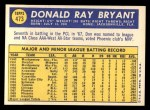 1970 Topps #473  Don Bryant  Back Thumbnail
